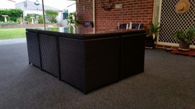 Gorgeous compact all-weather rattan dining suite.