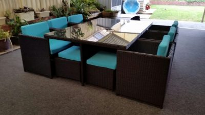 Beautiful outdoor wicker dining set with Oceana cushions.