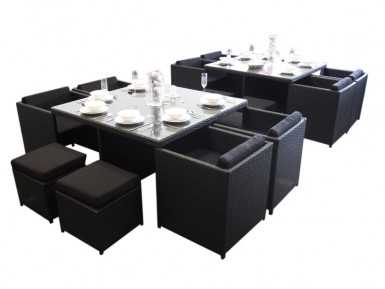 Beautiful black 8-seat dining sets for the garden