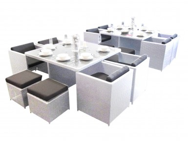 two eight seat dining sets