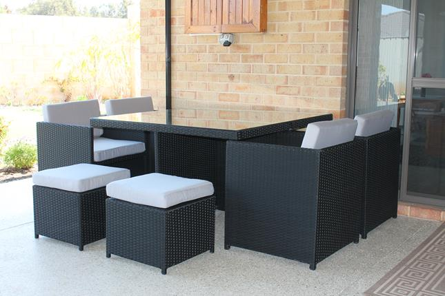 All weather wicker dining setting with UV treated fabric for Perth