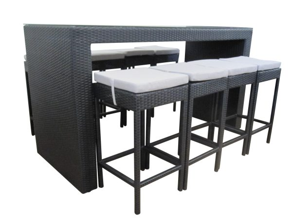 8 Seat Outdoor Wicker Bar Setting