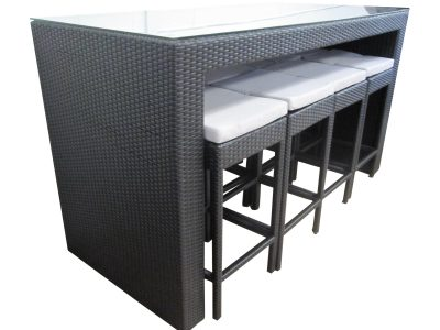 Large Outdoor Furniture. Bar Setting for Hosting BBQs. Made of PE rattan with weather proof cushions. Black in Colour. Delivery only to Perth.