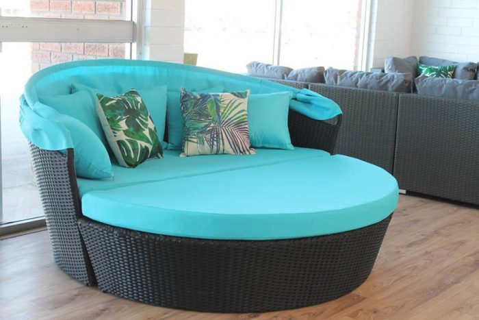 A relaxing day bed with blue fabric to enjoy the sun in Perth