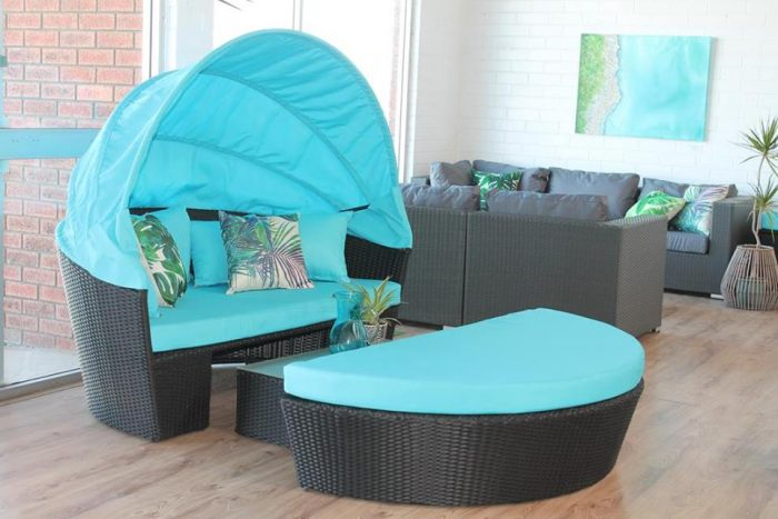 A wicker Lounge and day bed for relaxing on the patio. Furniture only for Perth.