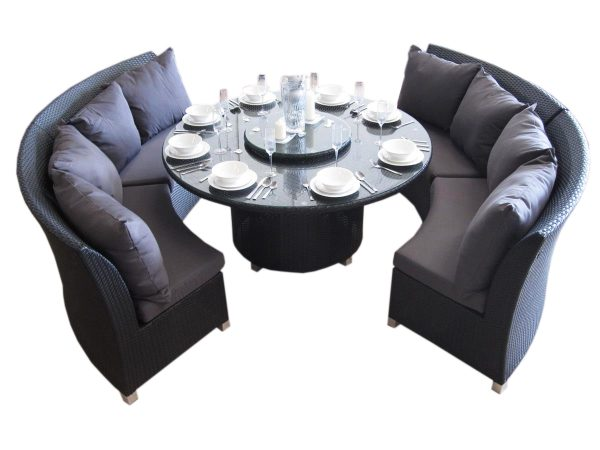 Beautiful Copacabana dining set from Urbani Furniture in Perth. 8 Seat Round Dining Set made of PE rattan.