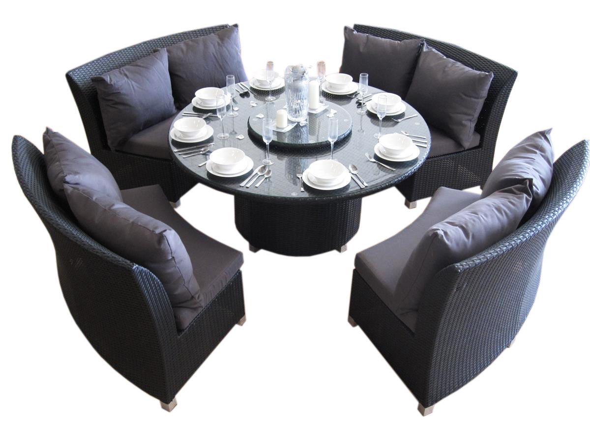 A large 8 seat round dining set made of outdoor wicker for the garden in Perth.