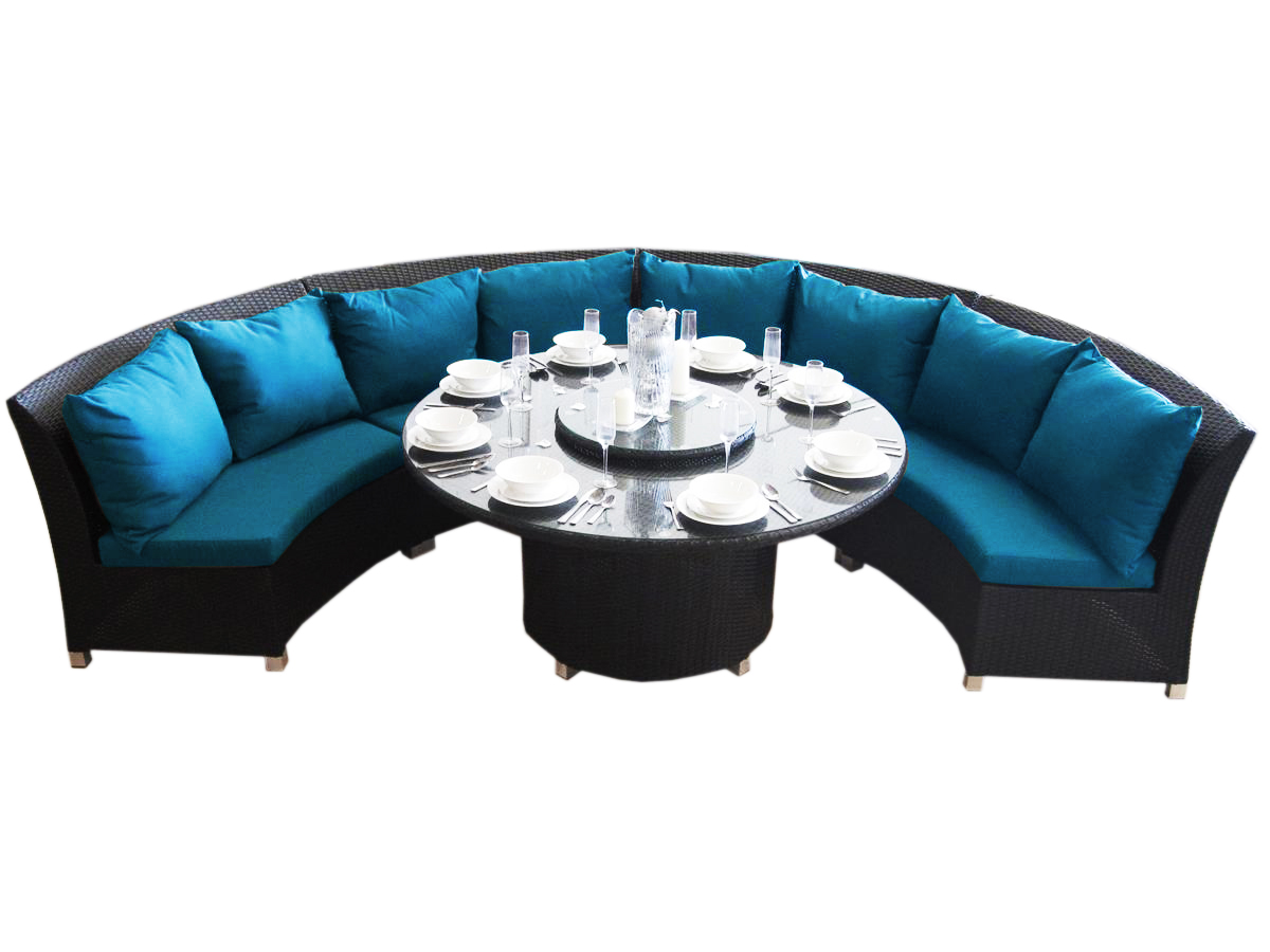 Black wicker with blue outdoor cushions, made of polyester fabric.