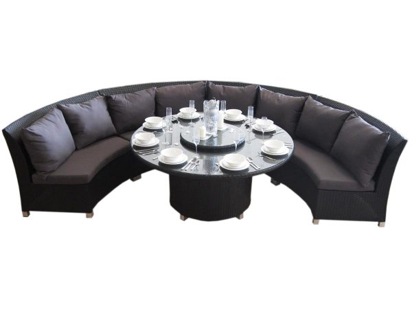Large Round Outdoor Garden Dining Set in Perth made of Wicker.