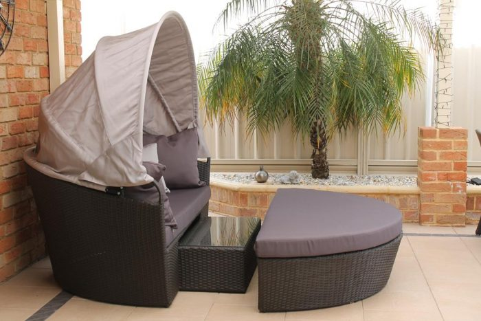 Caspian Day bed with a table inside.
