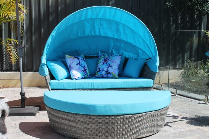 Oceana Fabric on a Day Bed by the Poolside.