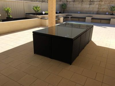 Black wicker outdoor dining setting UV resistant all weather