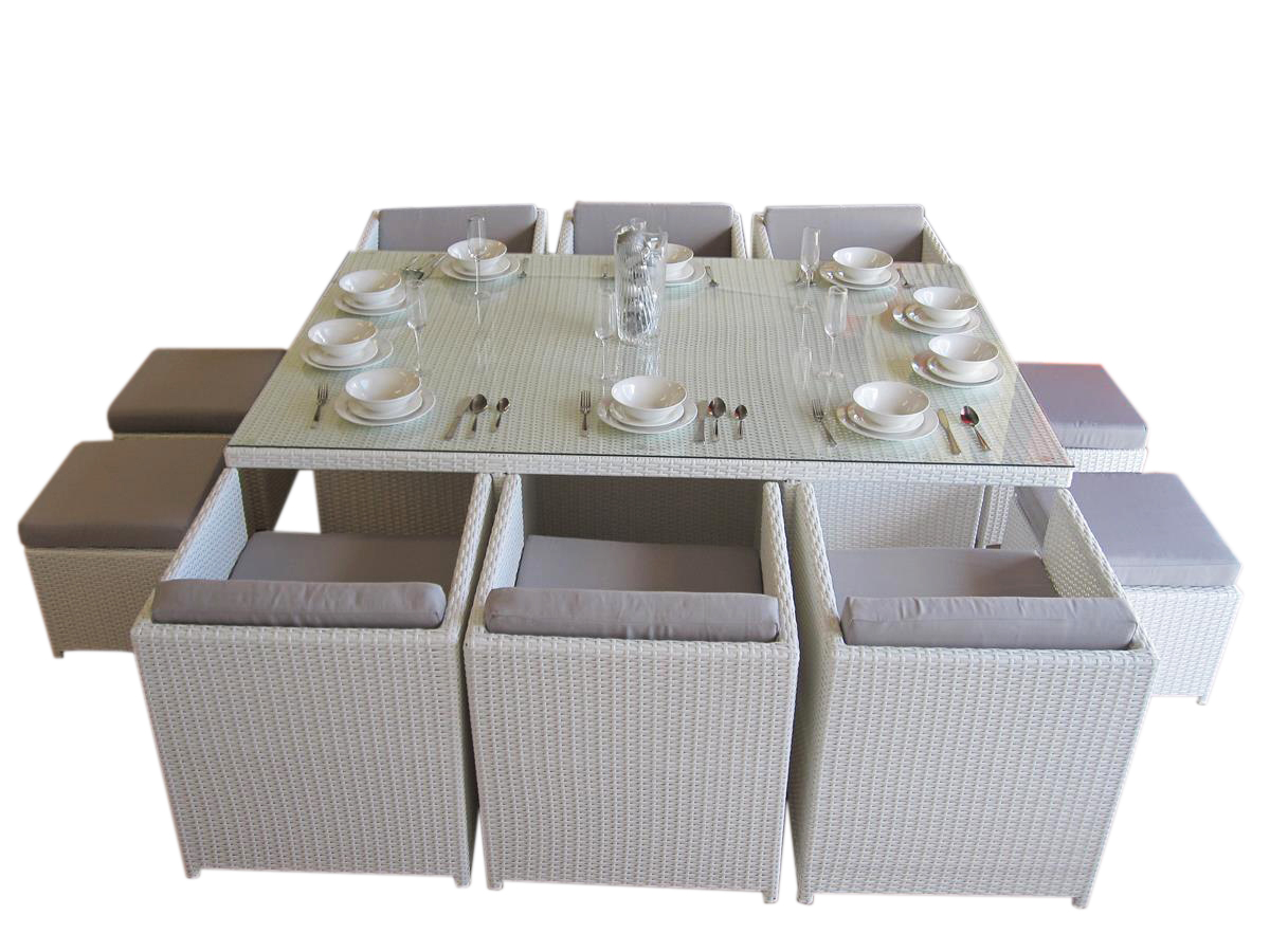 Modern and stylish white wicker outdoor dining set that seats 10 people.