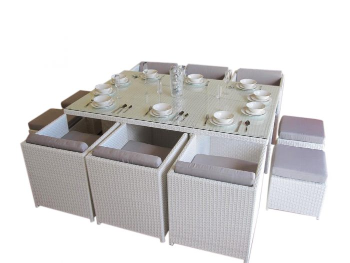 Perth's only compact outdoor dining set with white colour wicker.