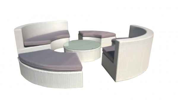 Contemporary White Lounge Setting with Grey Cushions. Made of Outdoor PE Wicker