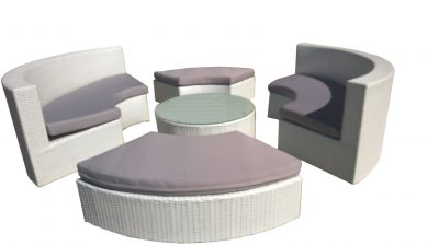 Modern Outdoor Wicker Lounge Furniture in Perth WA, White Wicker with Grey Cushions.