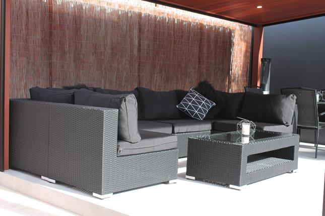 A modular outdoor lounge for outdoors that can move into various arrangements. Black wicker outdoor furniture for Perth.