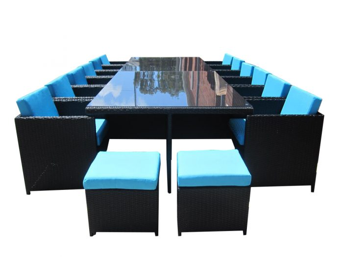 Gorgeous Blue fabric with black wicker. Outdoor Garden Furniture.