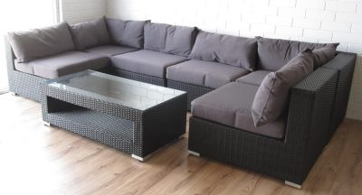 Relax outdoors in the patio with this large modular L shaped sofa set.