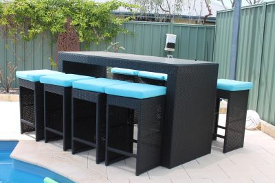 Blue Fabric Outdoor Wicker Bar Setting with 8 Chairs and Table