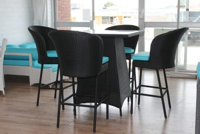 A Square Bar Setting for the patio with 4 chairs. Wicker outdoor furniture for Perth.