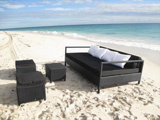 Beautiful outdoor wicker sofa setting.