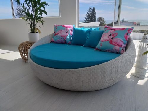 Large Outdoor White Wicker Day Bed with Blue Fabric