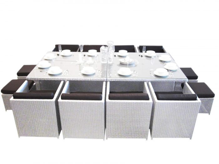 Large Outdoor Wicker Dining Setting with Perth. Twelve chairs for guests to sit outside.
