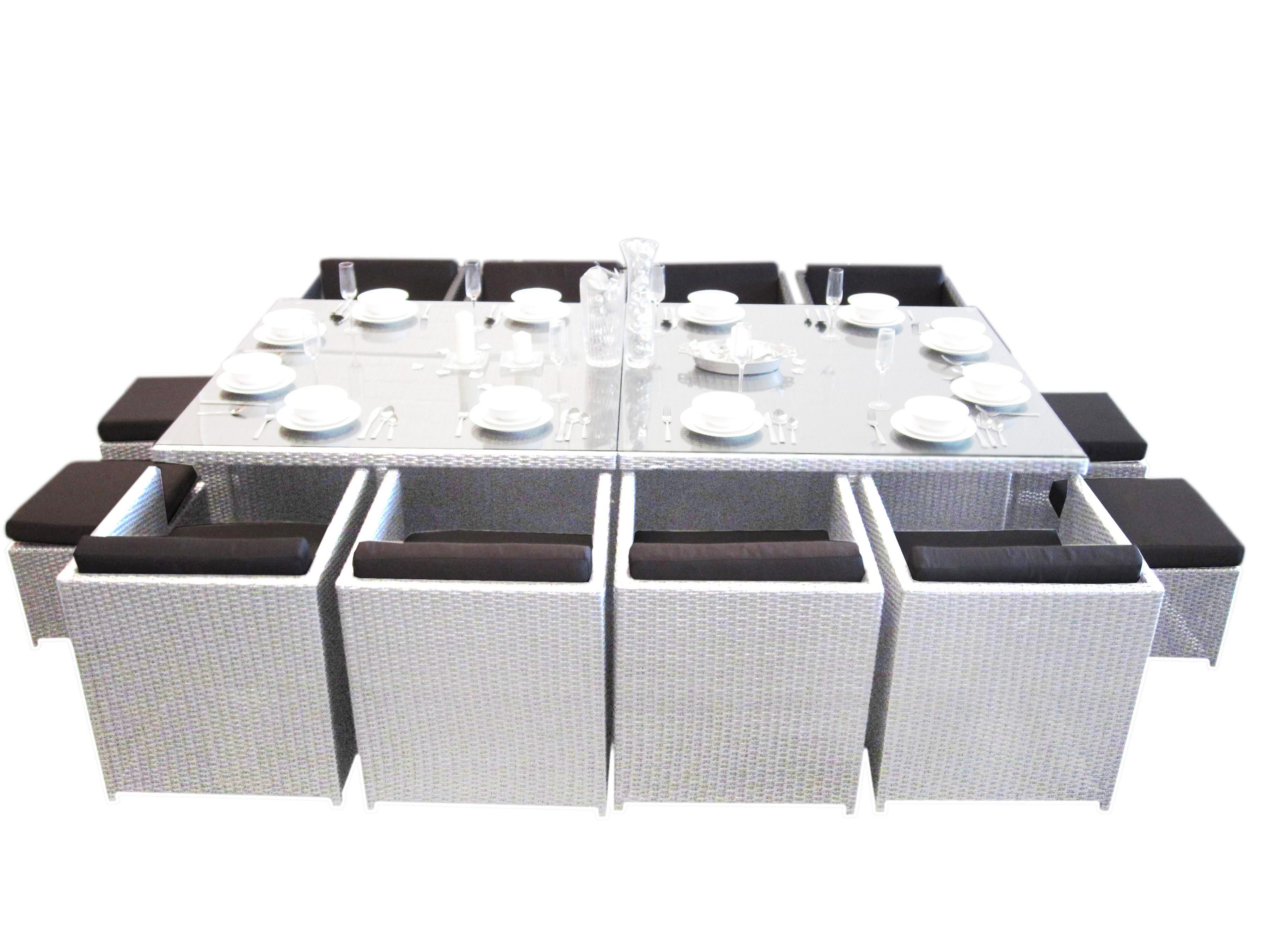 White empire 12 seat dining set urbani furniture for Outdoor furniture 12 seater