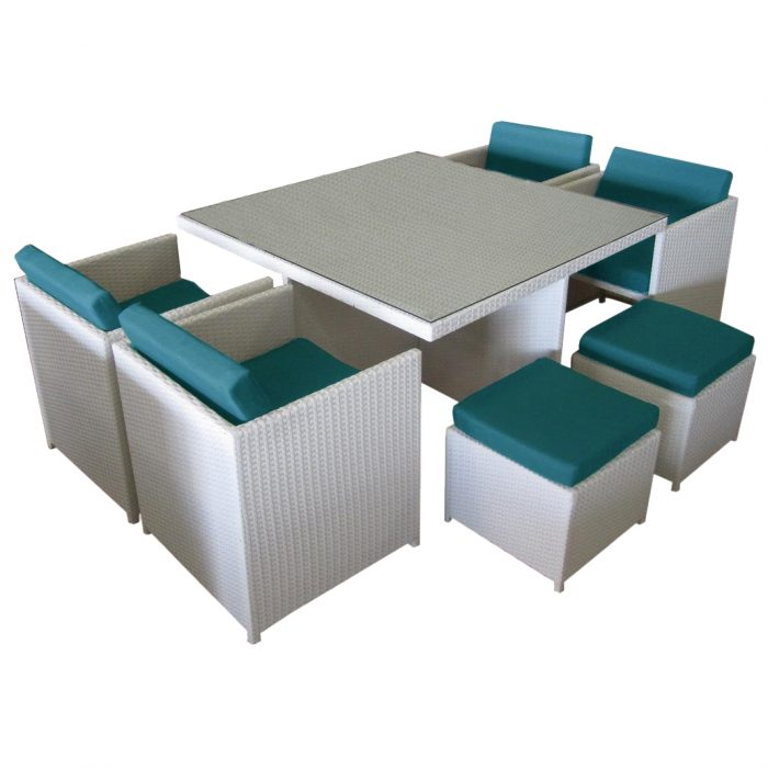 Compact white PE white 8 seater dining set for outdoors. Only for Perth customers.