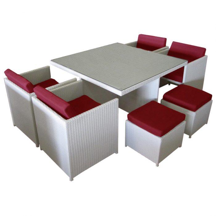 Beautiful and versatile compact outdoor rattan dining set.