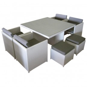 White Wicker Outdoor Compact Dining Setting in Perth