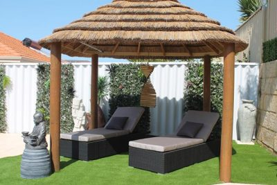 Sunlounges or sun lounge settee for by the poolside in Perth. Outdoor wicker garden furniture.