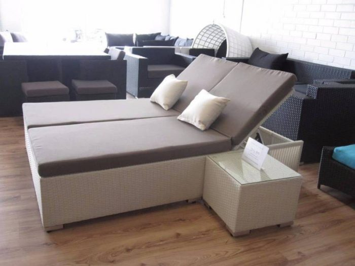 These sun beds can be pushed together to form a daybed. They are made from all weather wicker, great for the garden. This product is exclusive to Perth, WA.