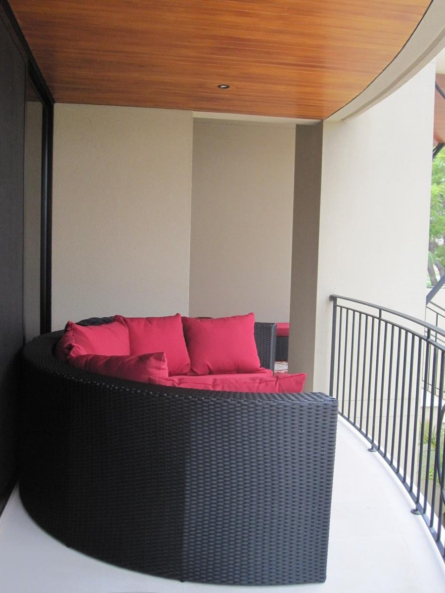 Outdoor Furniture for Perth. A round sofa settee made of high quality black wicker.