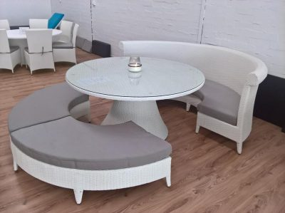 Outdoor All Weather Rattan White Round Dining Setting for Perth