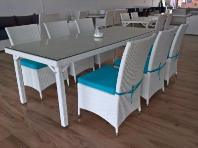 All weather white wicker dining setting in Perth