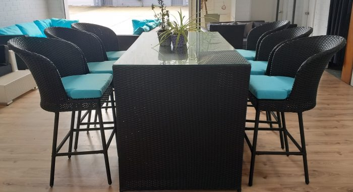 All weather black 6 Seat Outdoor Bar Setting